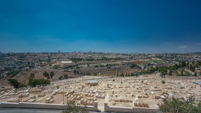 Panoramic view on Jerusalem timelapse with the Dome of the Rock from the Mount of Olives. stock video