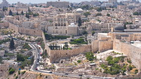Panoramic view on Jerusalem timelapse with traffic on the road from the Mount of Olives. stock video footage