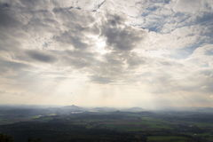 Panoramic view from Jested mountain near Liberec in Czech republic Royalty Free Stock Images
