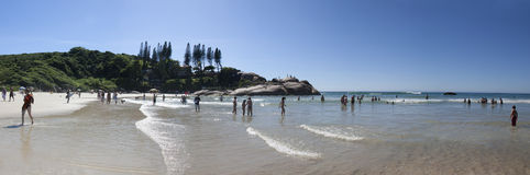 Panoramic view of Joaquina beach in Florianopolis - Brazil royalty free stock photos