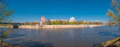 Panoramic view of Johannis church, park, and Elbe river bank in Magdeburg, Germany royalty free stock images