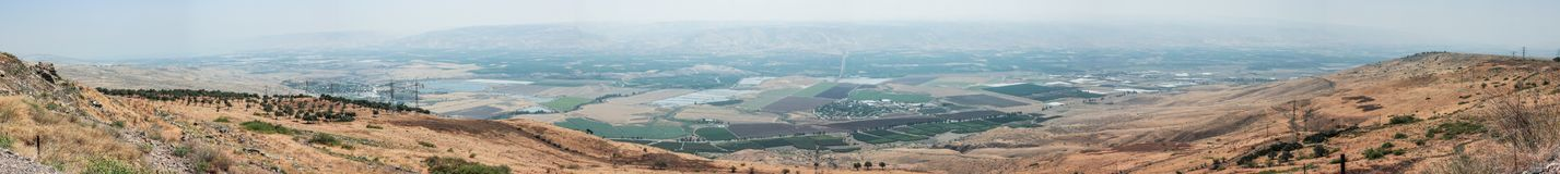 Panoramic view of the Jordan Valley from the walls of the Belvoir fortress - Jordan Star - in the Jordan Star National Park near A. Fula town, Israel Stock Images