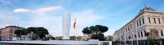 Panoramic view Julia statute by Jaume Plensa. MADRID, SPAIN - APRIL 2: Panoramic view Julia statute by Jaume Plensa at sunset on April 2, 2019 in Madrid, Spain stock photo