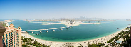 Panoramic view on Jumeirah Palm man-made island Royalty Free Stock Images