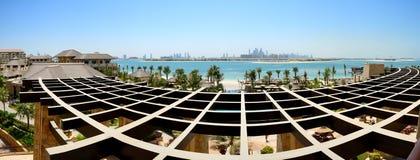 Panoramic view on Jumeirah Palm man-made island Stock Photos