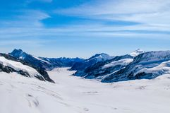 Panoramic view of .Jungfrau Aletsch Bietschhorn glacier top of Europe, Switzerland royalty free stock photo