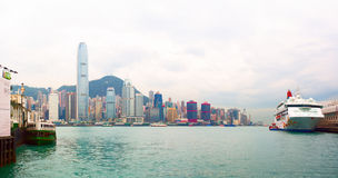 Panoramic view of Junk Bay with colorful skyscraper and cruise ship aside. Hong Kong Special Administrative Region Royalty Free Stock Photography