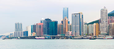 Panoramic view of Junk Bay with colorful skyscrapers. Hong Kong Special Administrative Region Stock Image