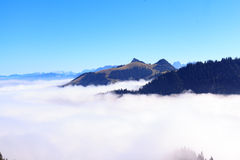 Panoramic view in the Kaiser mountains in Tyrol in Austria. Royalty Free Stock Photos