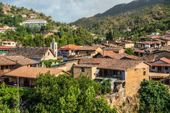Panoramic view of Kakopetria village. Nicosia District, Cyprus Royalty Free Stock Photography