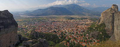 Panoramic view on Kalabaka town Royalty Free Stock Photography