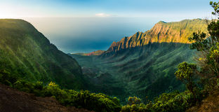 Panoramic view of Kalalau valley Kauai Royalty Free Stock Images