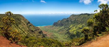Panoramic view of Kalalau valley Kauai Royalty Free Stock Photos