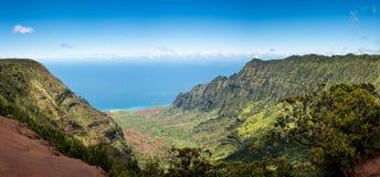 Panoramic view of Kalalau valley Kauai Stock Images