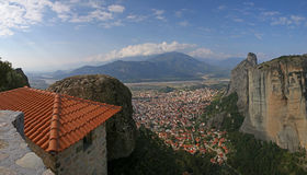 Panoramic view on Kalambaka town Royalty Free Stock Image