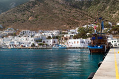 Panoramic view of Kamares port on Sifnos Stock Photos