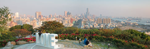 Panoramic view of Kaohsiung at sunset from the top of Shoushan mountain Royalty Free Stock Photo