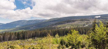Panoramic view of Karkonosze mountains Royalty Free Stock Photography