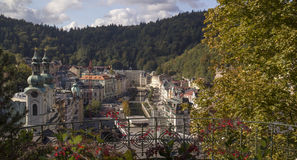 Panoramic View in Karlovy Vary,Czech famous SPA place Royalty Free Stock Image