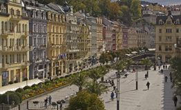 Panoramic View in Karlovy Vary,Czech famous SPA place Royalty Free Stock Photography