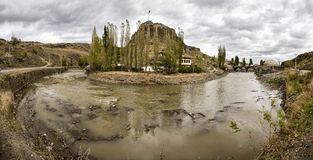 Panoramic view of Kars Castle and stone bridge, Tas Kopru Royalty Free Stock Photos