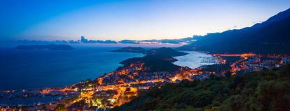 Panoramic view Kas in Turkey. Aerial panoramic view in sunset time resort city Kas on southern coast of Turkey Stock Photography