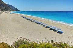Panoramic view of Katisma Beach, Lefkada Stock Images