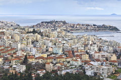 Panoramic view of Kavala city at North Greece Stock Images