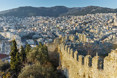 Panoramic view of Kavala from fortress, East Macedonia and Thrace Stock Photos