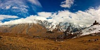 Panoramic view of the Kazbegi Royalty Free Stock Photography