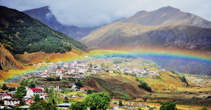 Panoramic view of  Kazbegi town Royalty Free Stock Photo