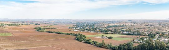 Panoramic view of Keimoes and vineyards as seen from Tierberg Royalty Free Stock Photos