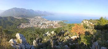 Panoramic view of Kemer city, Turkey Royalty Free Stock Image