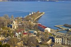 Panoramic view of Kerch. View from top of Mithridates mountain to sea port and church of St John the Baptist Stock Photo