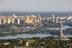 Panoramic view of Kiev Monument of Victory, Depr River and left Royalty Free Stock Image