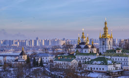 Panoramic view of Kiev Pechersk Lavra Monastery in winter Royalty Free Stock Photography