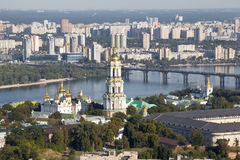 Panoramic view of Kiev Pechersk Lavra Orthodox Monastery in Kiev, Ukraine. royalty free stock images