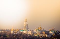 Panoramic view of Kiev Pechersk Lavra Orthodox Monastery in Kiev, Ukraine royalty free stock photos