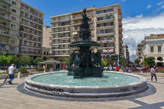 Panoramic view of King George I Square in Patras, Peloponnese, Western Greece Stock Images