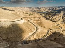 Panoramic view of the King Highway ascending the road north of the Wadi Mujib reservoir in Jordan, middle east. Panoramic view of the King Highway ascending the Stock Photography