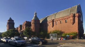 Panoramic view of Kingsbridge Armory and street in the Bronx. BRONX, NEW YORK, USA - OCTOBER 3: Panoramic view of Kingsbridge Armory also known as eighth Stock Image