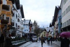Panoramic view of Kitzbuhel, Austria. Panoramic view of street and houses in Kitzbuhel, Austria Royalty Free Stock Image
