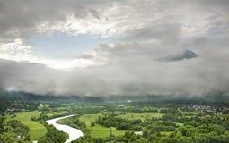 Panoramic view in Kobarid. Slovenia Stock Photos