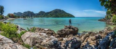 Panoramic view of  koh Phi phi don island Royalty Free Stock Photos