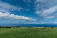 Panoramic view of the Kohala Coast on the Big Island of Hawaii taken higher elevation Stock Images