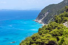 Panoramic view of Kokkinos Vrachos Beach with blue waters, Lefkada, Greece. Panoramic view of Kokkinos Vrachos Beach with blue waters, Lefkada, Ionian Islands Stock Photo