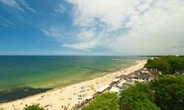 Panoramic view of Kolobrzeg beach, Poland. Panoramic view of Kolobrzeg beach, blue sky, Poland Stock Photography
