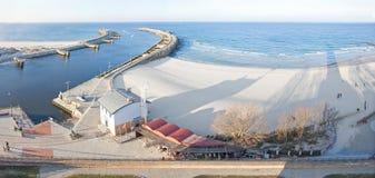 Panoramic view of Kolobrzeg port entrance, Poland Royalty Free Stock Photography