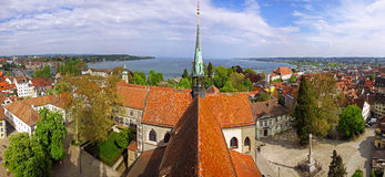 Panoramic view of Konstanz city (Germany) and Town of Kreuzlinge Royalty Free Stock Photo