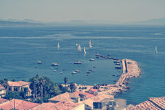 Panoramic view on Koroni village, Greece Royalty Free Stock Images